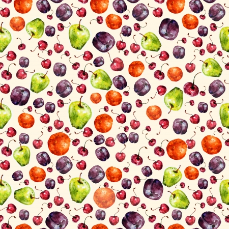 Fruit seamless texture watercolor photo