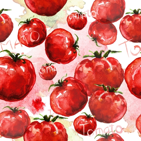 abstract art vegetables: Tomato seamless texture watercolor