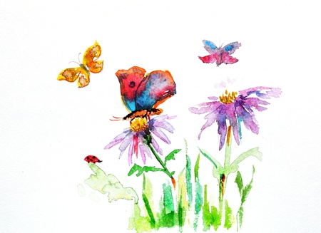 meadow: watercolor drawing of a flower with a butterfly