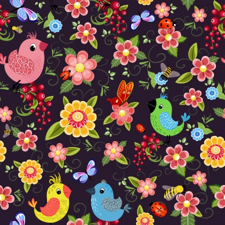 Cheerful seamless texture with birds Vector
