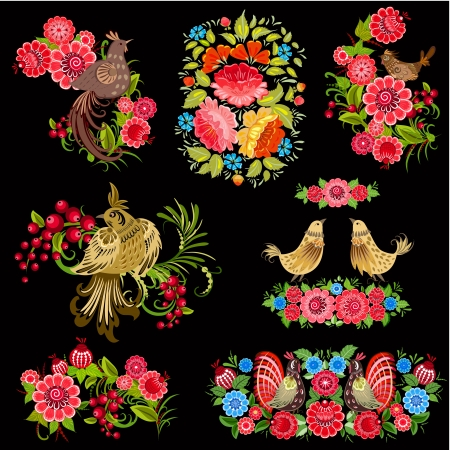 russian culture: Set of birds on the flowers in the Russian style