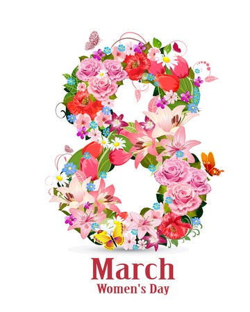 number of animals: Greeting card with March 8