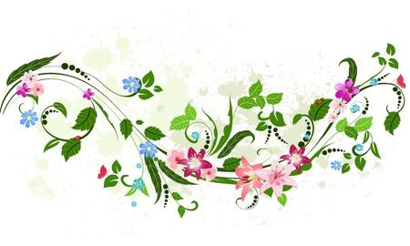 ビンテージの花柄のパターン  イラスト・ベクター素材