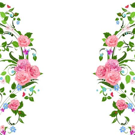 bordures fleurs: Motif floral Vintage Illustration