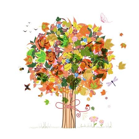 autumn flowers: Autumn abstract tree Illustration