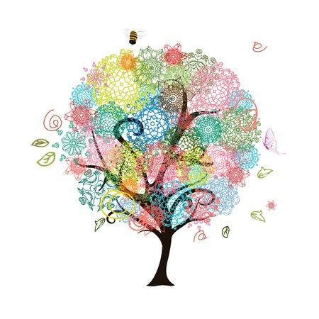 曼陀羅: 抽象的な装飾的な木