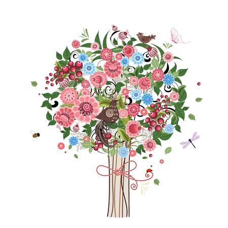 ladybug on leaf: Flower decorative tree with birds Illustration