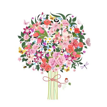 Festive romantic tree beautiful flowers Vector