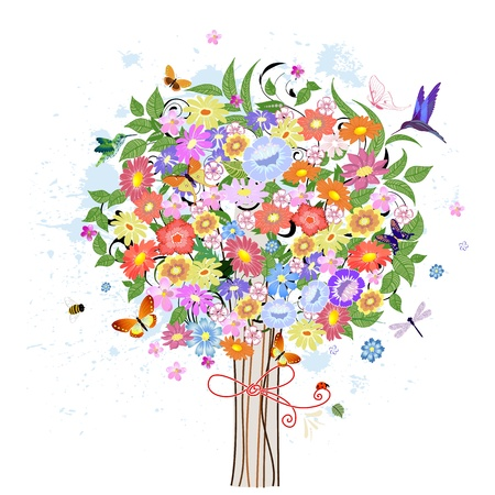 Flower decorative tree with birds Vector
