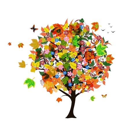 birds in tree: Autumn abstract tree Illustration