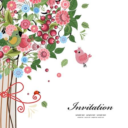 nozze: Cartolina di progettazione con albero decorativo Vettoriali