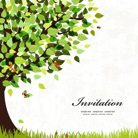Carte postale de conception avec un arbre Banque d'images - 20940887