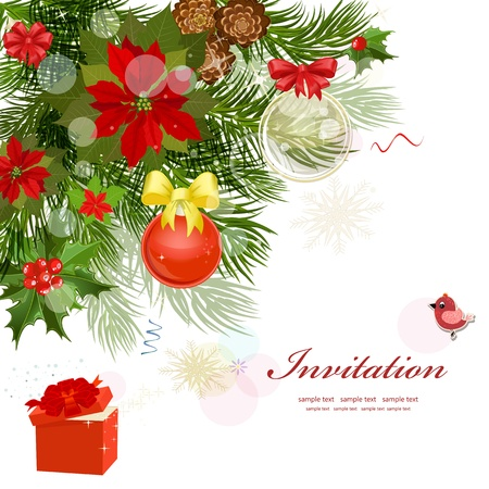 Design Christmas card with fir Vector