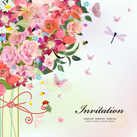 butterfly on flower: Postcard design with decorative tree