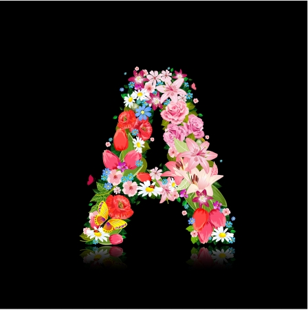 Romantic letter of beautiful flowers A Vector