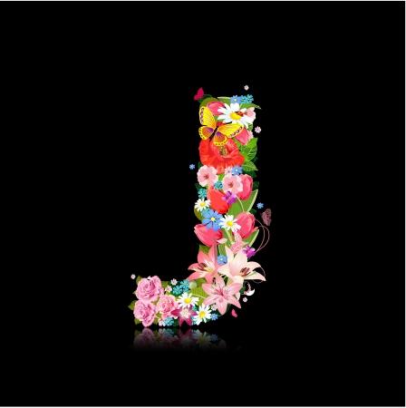 Romantic letter of beautiful flowers J Illusztráció