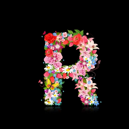 letter r: Romantic letter of beautiful flowers R Illustration
