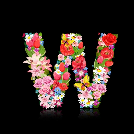 Romantic letter of beautiful flowers W Vector