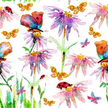 花のシームレスなテクスチャの水彩画