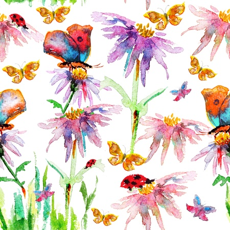 oriental season: Flower seamless texture watercolor Stock Photo