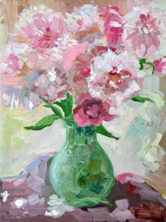 etude: Etude oil painting peonies in a vase Stock Photo