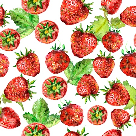 strawberry seamless texture in watercolor Stock Photo