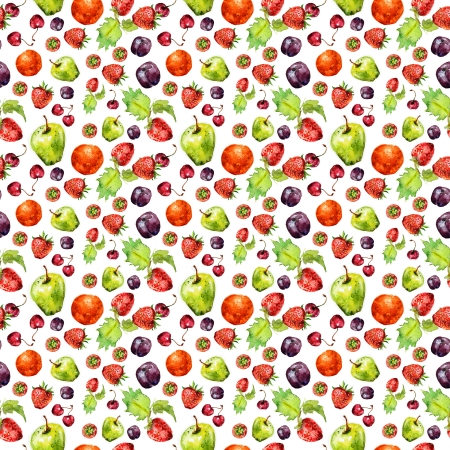 strawberry fruit seamless texture in watercolor photo