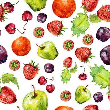 aardbeifruit naadloze textuur in aquarel