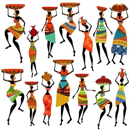 アフリカの美しい女性のシルエット