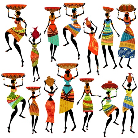 tribal dance: Silhouettes of beautiful African women