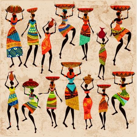 Retro beautiful African women Vector Illustration