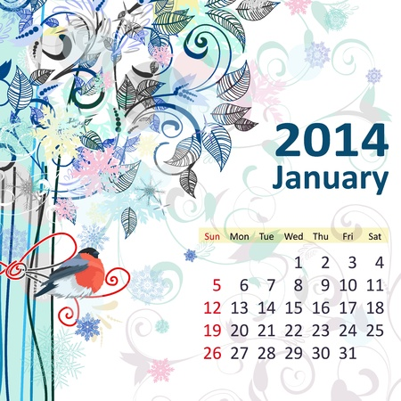 Calendar for 2014, january Vector