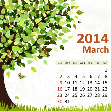 Calendar for 2014, march Stock Vector - 21526586