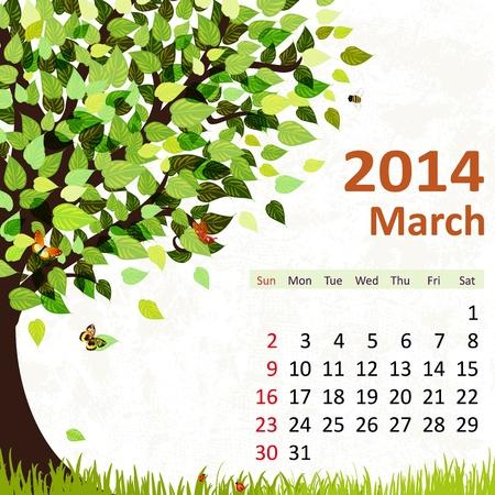 Calendar for 2014, march Stock Vector - 21526586