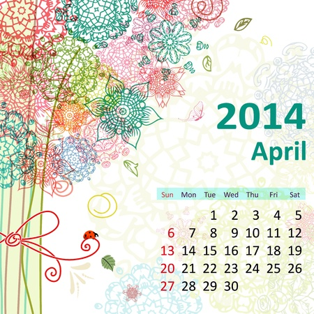 Calendar for 2014, april Vector