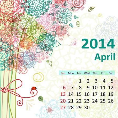 Calendar for 2014, april Stock Vector - 21521888