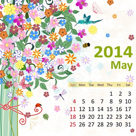 Calendar for 2014, may Vector