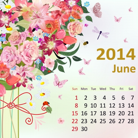 Calendar for 2014, June Vector