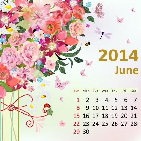 fashion week: Calendar for 2014, June Illustration