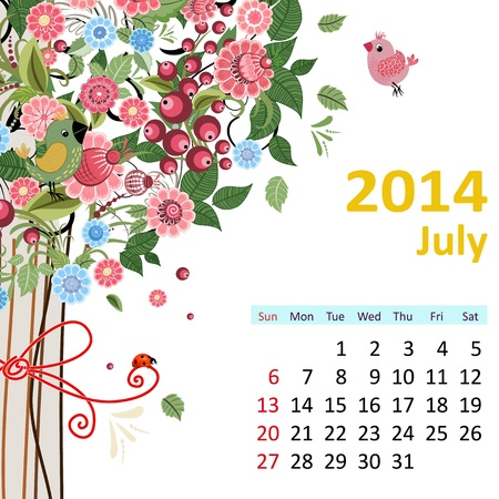Calendar for 2014, July Vector