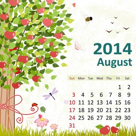 Calendar for 2014, August Vector