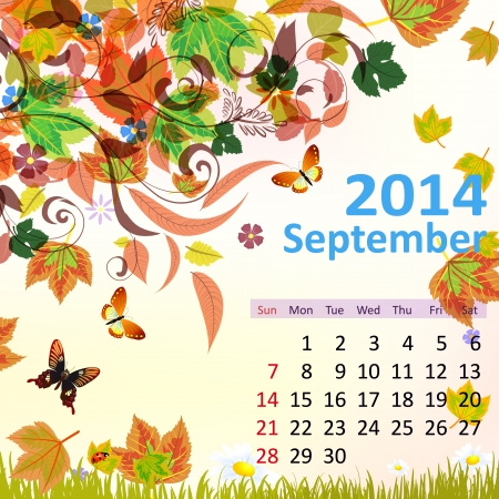 Calendar for 2014, September Vector