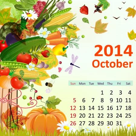 Kalender für das Jahr 2014, im Oktober