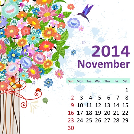 Calendar for 2014, November Stock Vector - 21521898