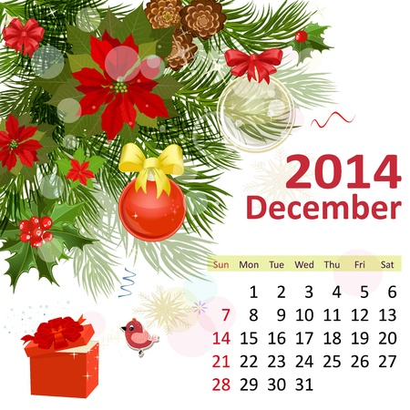 Calendar for 2014, Deceember Vector