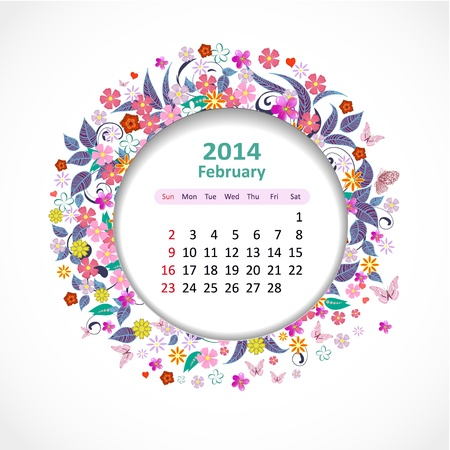 Calendar for 2014, february Stock Vector - 21526578