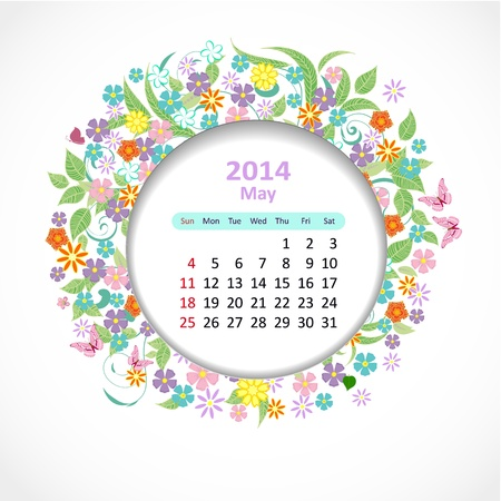 Calendar for 2014, may Stock Vector - 21526602