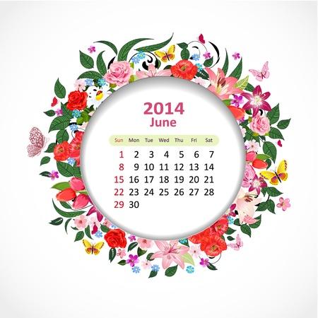 Calendar for 2014, june Stock Vector - 21526604