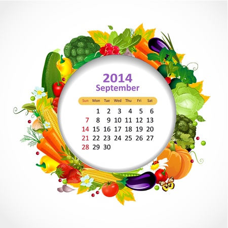 Calendar for 2014, september Stock Vector - 21526603