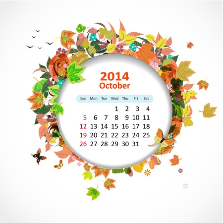 Calendar for 2014, october Vector